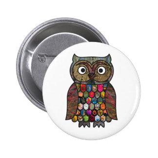Patchwork Owl Pinback Button