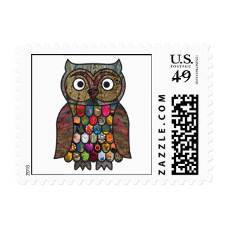 Patchwork Owl Postage Stamps