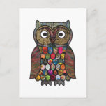 Patchwork Owl Post Card