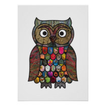 Patchwork Owl Poster