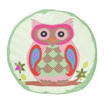 Patchwork Owl Pouf