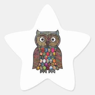 Patchwork Owl Star Sticker