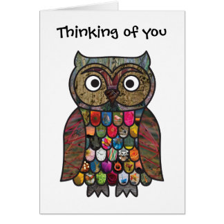 Patchwork Owl Thinking of you Card