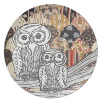 Patchwork Owls 2 Plate