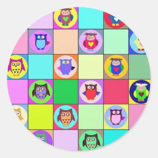 patchwork owls classic round sticker