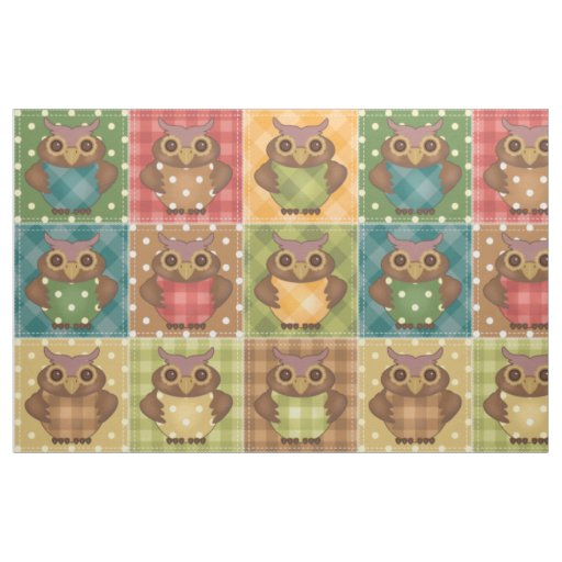 owl home decor fabric patchwork owls fabric zazzle 11687