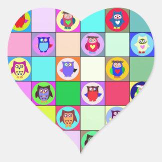patchwork owls heart sticker