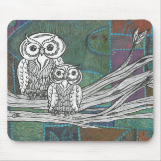 Patchwork Owls Mouse Pad