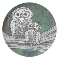 Patchwork Owls Plate