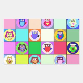 patchwork owls rectangular sticker