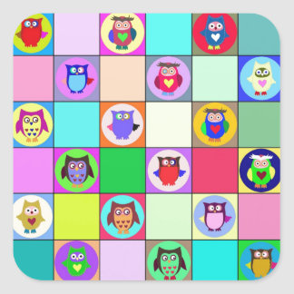 patchwork owls square sticker