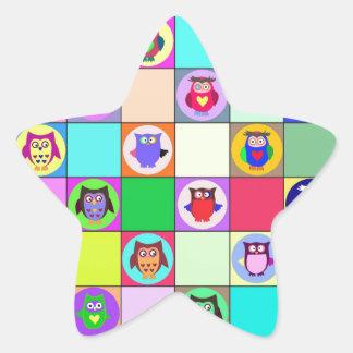 patchwork owls star sticker