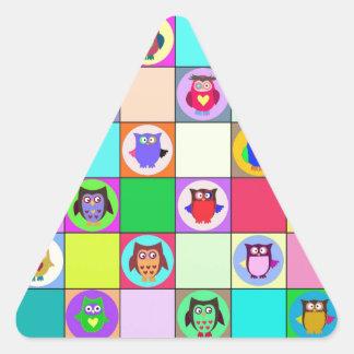 patchwork owls triangle sticker
