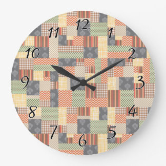 Patchwork Parquet Large Clock