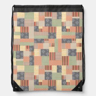 Patchwork Parquet Drawstring Backpacks