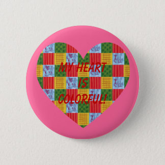 Patchwork Pattern Painting Heart Shaped Pinback Button