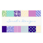 Patchwork pattern squares - purple, yellow & blue Double-Sided standard business cards (Pack of 100)