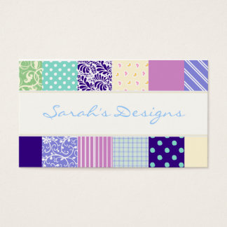 Patchwork pattern squares - purple, yellow & blue business card