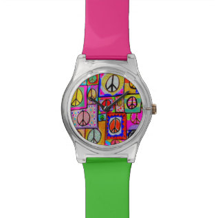 Patchwork Peace Signs Watch at Zazzle