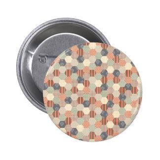Patchwork Pentagon Pattern 2 Inch Round Button