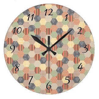 Patchwork Pentagon Pattern Large Clock