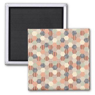 Patchwork Pentagon Pattern 2 Inch Square Magnet