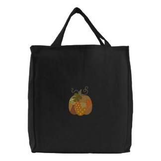 Patchwork Pumpkin Embroidered Tote Bag