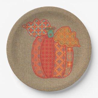 Patchwork Pumpkin Thanksgiving Paper Plates 9