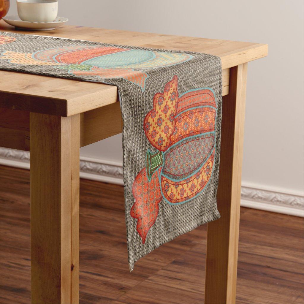 Patchwork Pumpkins on Faux Burlap Table Runner