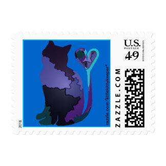 Patchwork Purple Cat Stamp