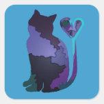 Patchwork Purple Cat Sticker