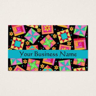 Patchwork Quilt Block Art Black Business Card