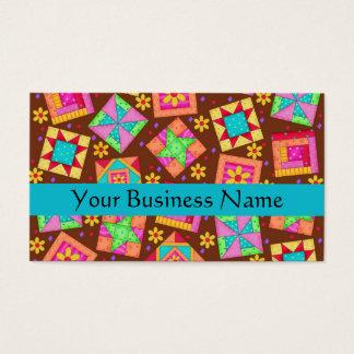 Patchwork Quilt Block Art Brown Business Card