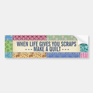 Patchwork Quilt Custom Quote Bumper Sticker