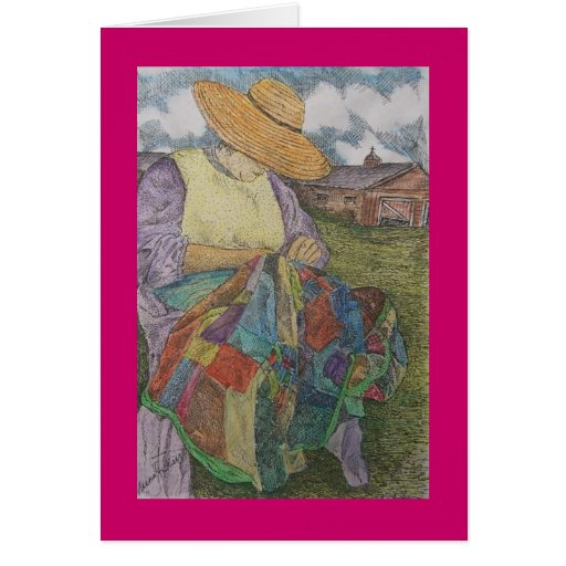 patchwork quilt greeting card Zazzle