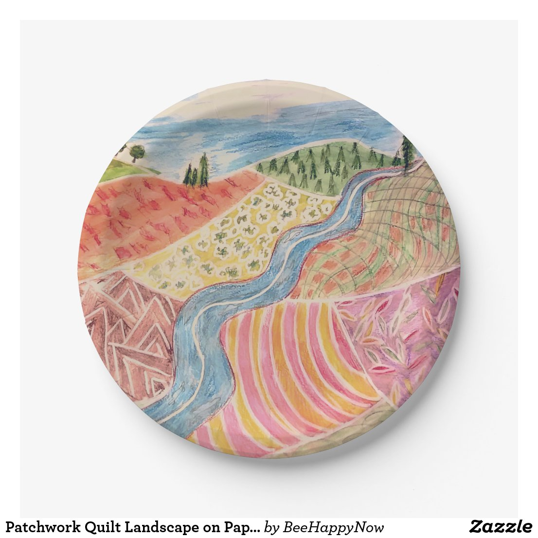 Patchwork Quilt Landscape on Paperplates Paper Plate