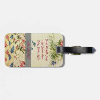 Patchwork Quilt Luggage Tag in Pink