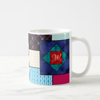 Patchwork Quilt Monogram Coffee Mug
