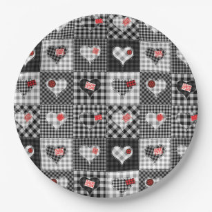 Patchwork Quilt Multicolored Gingham Paper Plate  sc 1 st  Zazzle & Black And White Checkered Squares Plates | Zazzle
