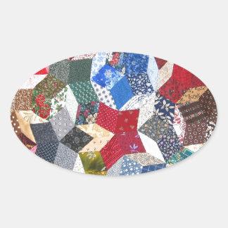 Patchwork Quilt Oval Sticker