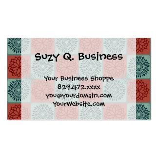 Patchwork Quilt Pattern Red Blue Flower Art Design Business Cards