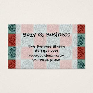 Patchwork Quilt Pattern Red Blue Flower Art Design Business Card