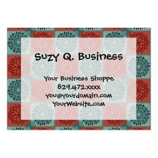 Patchwork Quilt Pattern Red Blue Flower Art Design Business Card Templates