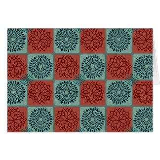 Patchwork Quilt Pattern Red Blue Flower Art Design Card