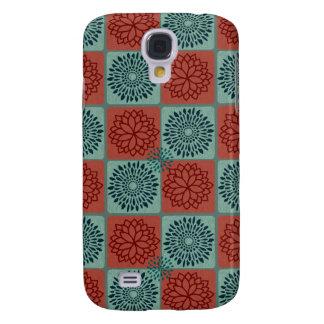 Patchwork Quilt Pattern Red Blue Flower Art Design Galaxy S4 Case