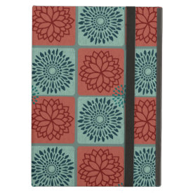 Patchwork Quilt Pattern Red Blue Flower Art Design iPad Covers