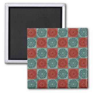 Patchwork Quilt Pattern Red Blue Flower Art Design Refrigerator Magnet