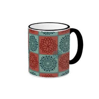 Patchwork Quilt Pattern Red Blue Flower Art Design Ringer Coffee Mug