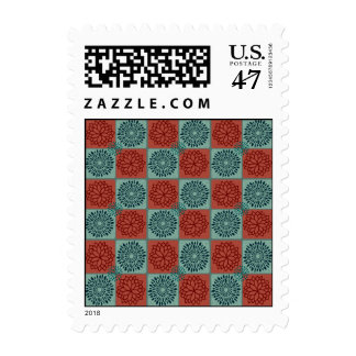 Patchwork Quilt Pattern Red Blue Flower Art Design Postage