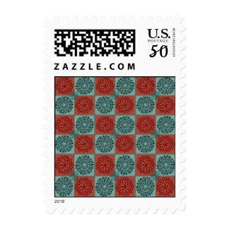 Patchwork Quilt Pattern Red Blue Flower Art Design Postage